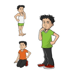 Asian boy poses vector