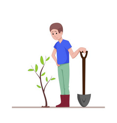 The guy with a shovel standing near the planted vector