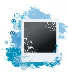 grunge winter polaroid with snowflakes vector image