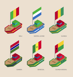 Isometric ships with flags of african countries vector
