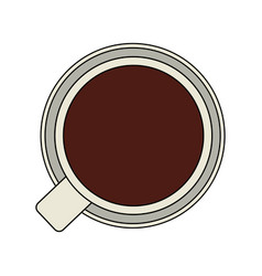 Color graphic top view cup of coffee vector