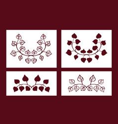 Set of stencils floral elements vector