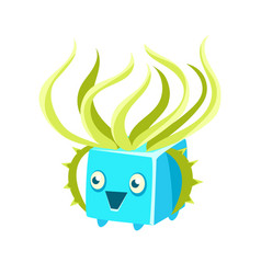 Cute fantastic turquoise plant character square vector