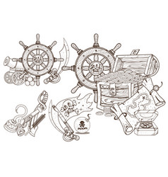 Medieval adventure treasures of the and sea vector