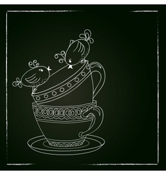 Card with tea cups and art birds vector