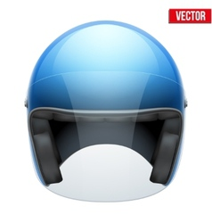 Blue motorbike classic helmet with clear glass vector