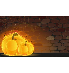 Dark dungeon and burning pumpkins vector
