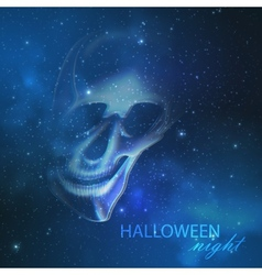 Spooky with an evil ghost skull on the night vector