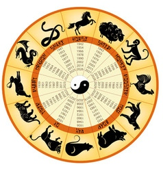 Chinese calendar animals vector
