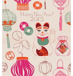 Chinese lanterns lucky cat vector image