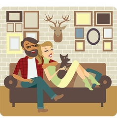 Couple relaxing at home vector