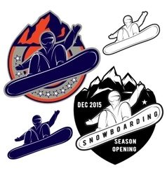 Set badges for extreme sports snowboarding vector