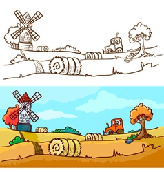 autunm harvesting vector image