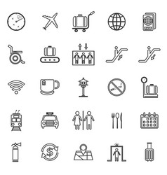 Airport line icons on white background vector