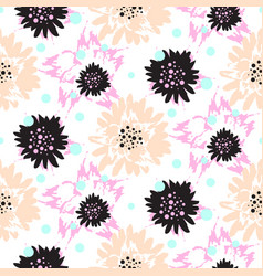 Bold brush strokes floral seamless pattern vector