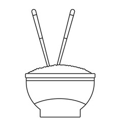 bowl of rice icon outline style vector image