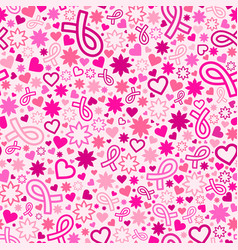 Breast cancer awareness month seamless pattern vector