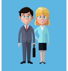 Cartoon man and woman business work cooperation vector