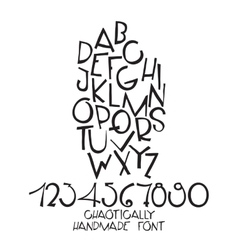 Chaotic decorative alphabet hand drawn vector