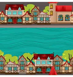 City by the river seamless pattern vector image vector image