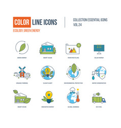 Color icons ecology green energy smart house vector