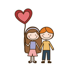 Colorful caricature of couple kids in casual vector