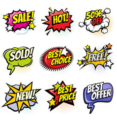 Comic speech bubbles with promo words discount vector