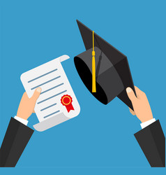 Concept of education graduation hat and diploma vector