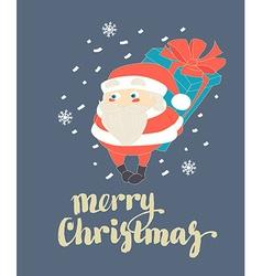 Cute Santa Claus hiding Christmas present behind vector image vector image