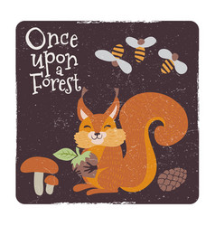 Cute squirrel with nut and mushrooms and bee vector