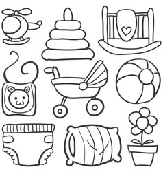 doodle of baby element set vector image vector image