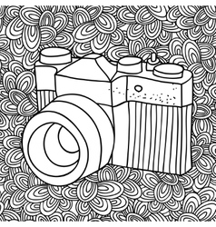 Doodle pattern with black and white photo camera vector
