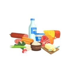 Farm products set colorful sticker vector