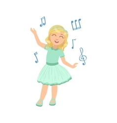 Girl in blue dress dancing vector