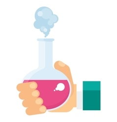 hand holding test tube vector image vector image