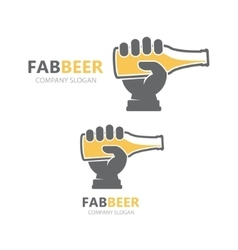 hand with beer bottle logo design template vector image vector image