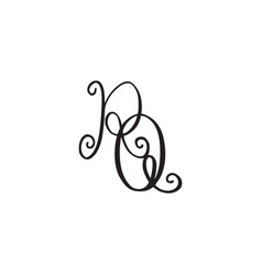 Handwritten monogram rq icon vector