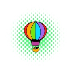 Hot air balloon icon comics style vector