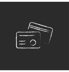 Identification card icon drawn in chalk vector