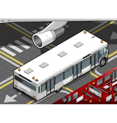 Isometric airport bus in rear view vector