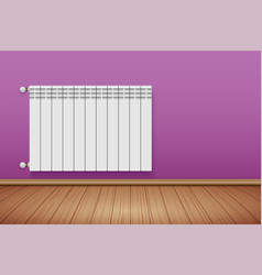 Metal heating radiator in room vector