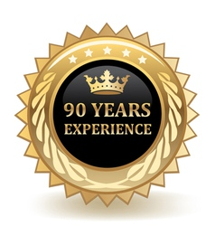 Ninety Years Experience Badge vector image vector image