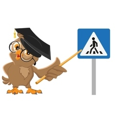 Owl teacher shows pedestrian crossing sign vector