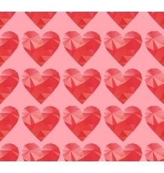 Polygonal red hearts vector