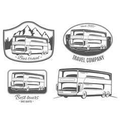 Set of logos with tourist bus vector