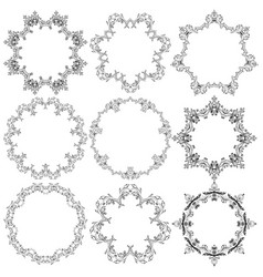 Set of round lace frames vector