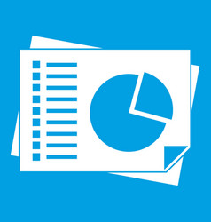 Sheets of paper with charts icon white vector