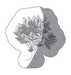 Sticker gray color leafy tree with several leaves vector