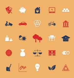 Sufficient economy flat icons with shadow vector image vector image