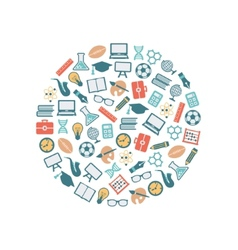 teacher flat icons in circle vector image